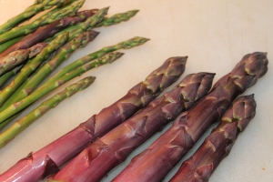 Huge purple asparagus.  Yet it is tender as the slim ones!