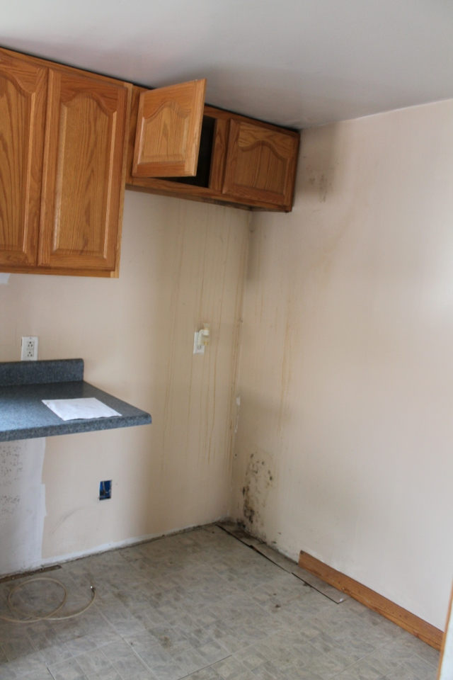 South end of kitchen,  Before.  Major gut at this end with drywall and insulation replaced.